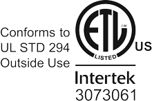 ETL Listed by Intertek to UL Std 294 for Outside Use