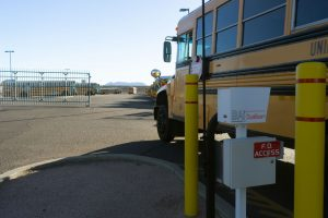 School bus being identified by BA-440 for entrance to bus yard